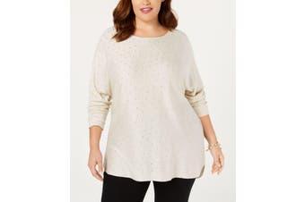 INC Women's Sweater Beige Size 0X Plus Pullover Rhinestone Embellished