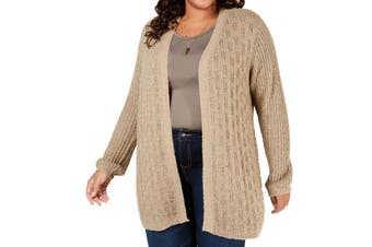 Belldini Women's Sweater Brown Size 3X Plus Open-Front Cardigan