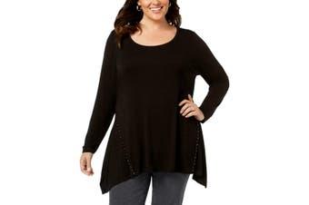 Belldini Women's Top Black Size 2X Plus Knit Embellished Handkerchief-Hem #088