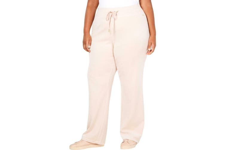 Calvin Klein Women's Pink Size 0X Plus Velour Wide Leg Activewear Pants