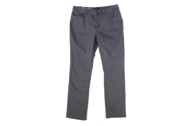Charter Club Women's Gray Size 14 Mid-Rise Straight Leg Jeans Stretch