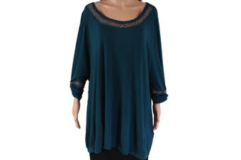 Belldini Women's Top Teal Blue Size 3X Plus Embellished Scoop-Neck