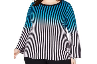 INC Women's Sweater Blue Size 3X Plus Pullover Ombre Striped Knit