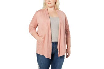 Style & Co. Women's Sweater Pink Size 3X Plus Cardigan Faux Suede