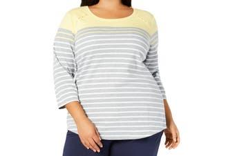 Karen Scott Women's Top Yellow Sunshower Size 3X Plus Knit Striped