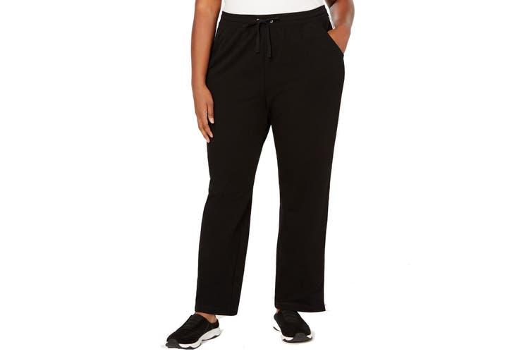 Karen Scott Women's Black Size 3X Plus Colorblock Striped Pants Stretch
