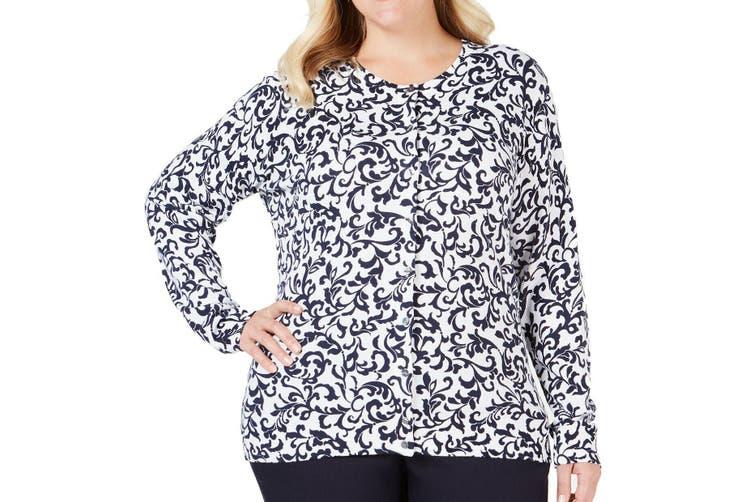Karen Scott Women's Sweater White 1X Plus Cardigan Fleur de Lis Print