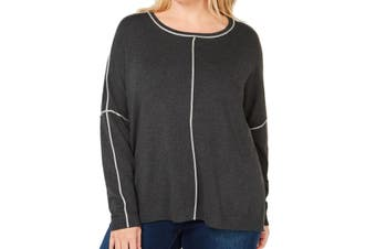 525 America Women's Sweater Charcoal Gray Size 2X Plus Pullover