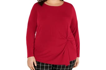INC Women's Blouse Real Bright Red Size 2X Plus Gathered Scoop Neck