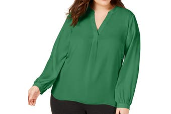INC Women's Blouse Clover Patch Green Size 1X Plus Split Neck Pleat