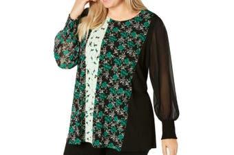 Alfani Women's Blouse Green Size 3X Plus Mesh Floral Smocked Sleeves