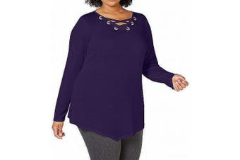 Belldini Women's Top Purple Size 2X Plus Grommet Lace-Up Asymmetrical
