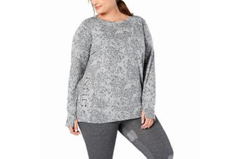 Ideology Women's Sweater Gray Size 2X Plus Pullover Printed Lace-Up