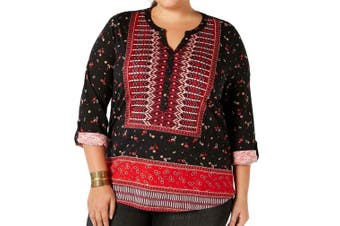 Style & Co. Women Top Black Size 2X Plus Knit Henley Roll Tab Sleeve