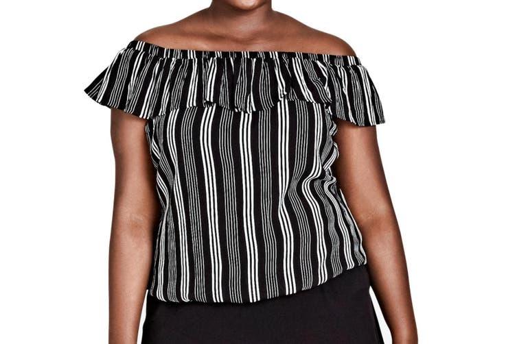 City Chic Women's Blouse Black Size 14W Plus Off-Shoulder Striped