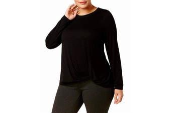 Ideology Women's Knit Top Black Size 1X Plus Twist-Front Pullover