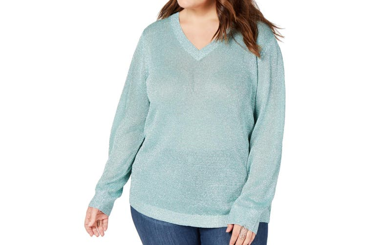 INC Women's Sweater Mint Green Size 1X Plus V-Neck Pullover Metallic