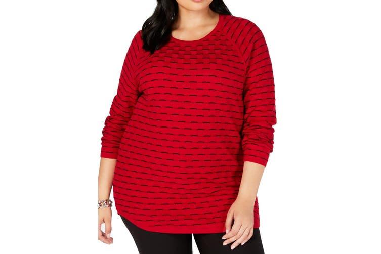 Karen Scott Women's Sweater Red Size 2X Plus Pullover Curve-Hem Rib