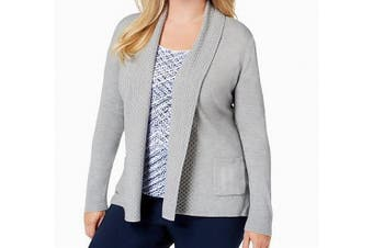 Karen Scott Women's Sweater Gray Size 1X Plus Shawl Open Front Cardigan