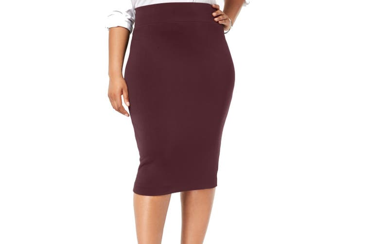 Alfani Women's Skirt Wine Purple Size 16W Plus Midi Straight Pencil