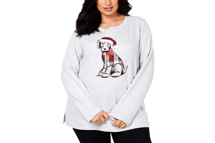Karen Scott Women's Sweater Gray Size 2X Plus Pullover Holiday Pup