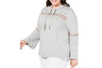Style & Co Women's Sweatshirt Gray 3X Plus Embroidered Pullover Raw Hem