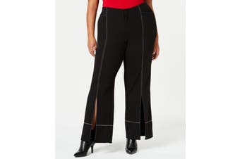 INC Womens Pants Black Size 20W Plus Contrast Stitch Stretch Wide Leg