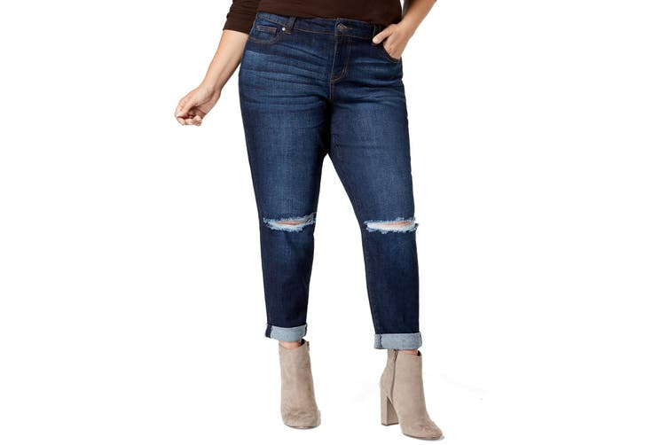 Celebrity Pink Womens Jeans Blue Size 24 Plus Stretch Girlfriend Ripped