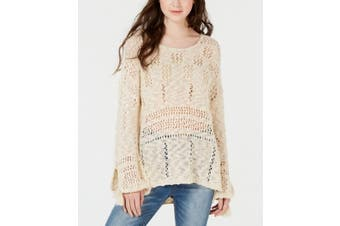 American Rag Women's Sweater Beige Size Medium M Open-Knit High-Low