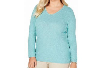 Karen Scott Women's Sweater Aqua Green Size 2X Plus Textured Pullover