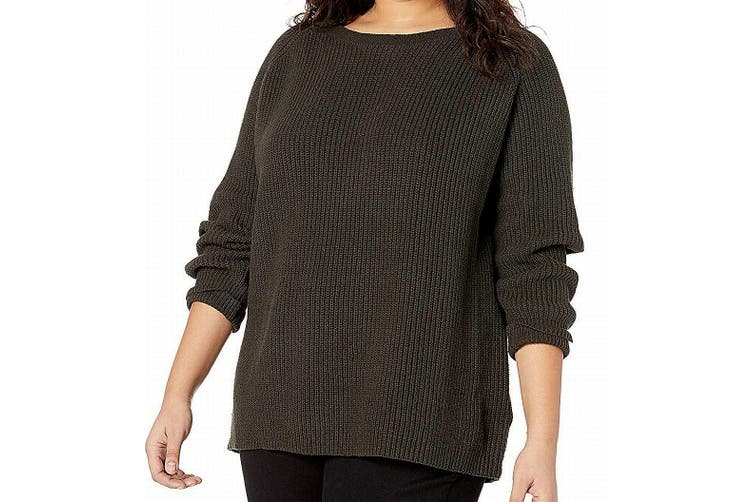 City Chic Women's Sweater Green 14W Plus Pullover Knitted Elbow Cutout