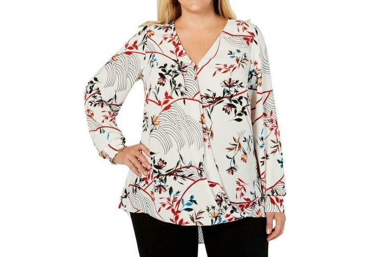 Alfani Women's Blouse White Size 1X Plus Surplice Printed Shirred