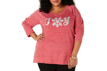 Style & Co. Womens Sweatshirt Red Size 0X Plus Joy Embellished Pullover