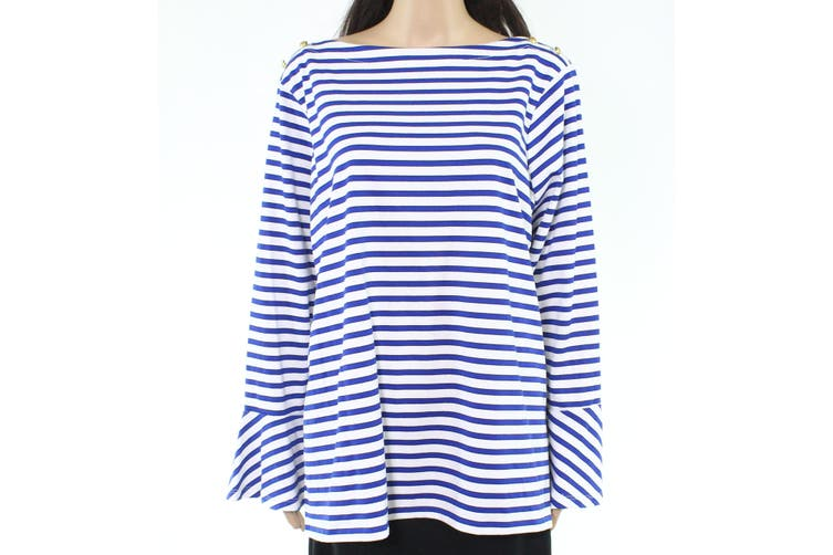 Lauren By Ralph Lauren Women's Top Blue Size 3X Plus Knit Bell-Sleeve
