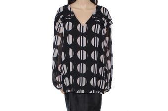 Calvin Klein Women's Blouse Black Size 1X Plus Tiered Geometric Print