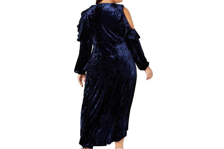 NY Collection Women Dress Blue Size 2X Plus Sheath Velvet Cold Shoulder