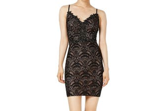 City Studio Dress Black Size 1 Junior V-Neck Embroidered Beaded Lace