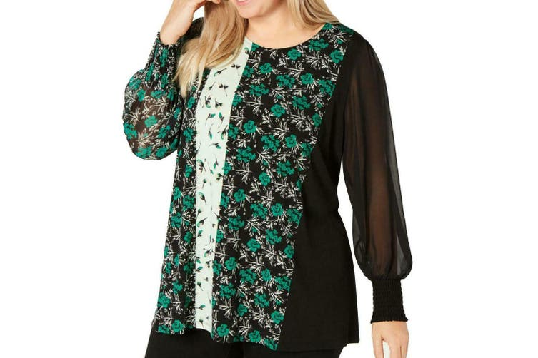 Alfani Women's Blouse Green Size 3X Plus Mesh Floral Smocked Sleeves