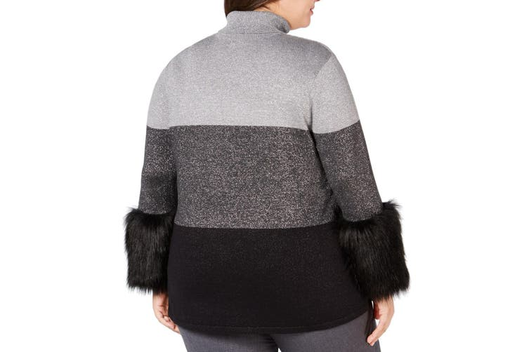 Alfani Women's Sweater Gray Size 3X Plus Turtleneck Colorblock Faux-Fur
