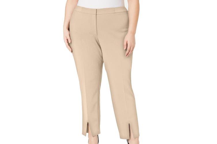 Calvin Klein Women's Pants Beige Size 24W Plus Slit Hem Stretch