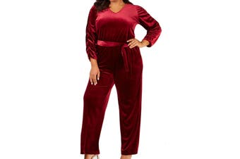 Ny Collection Women's Jumpsuit Red Size 2XP Plus Belted Velvet V Neck