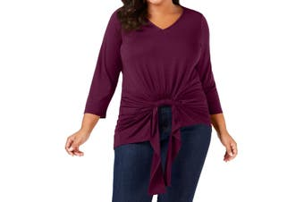 NY Collection Women's Knit Top Purple Size 2X PlusTwist-Front V-Neck
