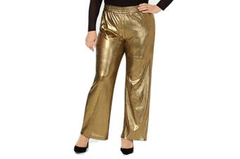 NY Collection Women's Gold Size 2X Plus Metallic Dress Pants Stretch