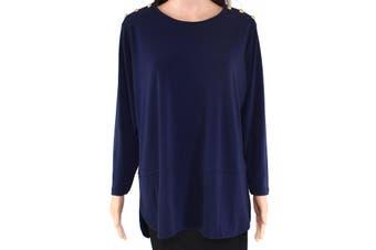 Lauren by Ralph Lauren Women's Blouse Blue Size 1X Plus Button Detail