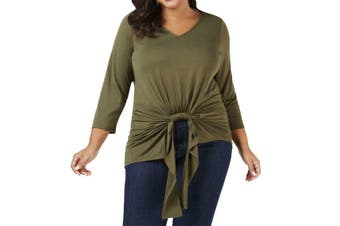 NY Collection Women's Top Olive Green Size 3X Plus Draped Twist-Front