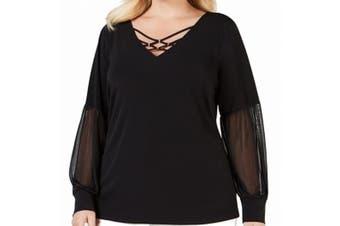 JM Collection Women's Blouse Black Size 3X Plus Rhinestone Chiffon