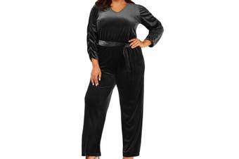 NY Collection Women's Jumpsuit Black Size 2XP Plus Velvet V-Neck
