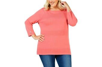Karen Scott Women's Sweater Coral Pink Size 1X Plus Pointelle Pullover