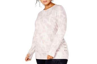 Ideology Women's Top Pink Size 3X Plus Knit Tie-Dye Side-Lace-Up