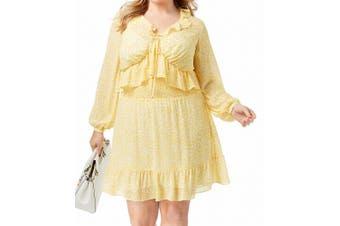 Michael Kors Women's Dress Yellow Size 0X Plus A-Line Smocked Ruffle